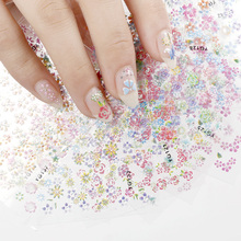 24 Designs/Lot Beauty Flowers Nail Stickers 3D Nail Art Decorations Glitter Manicure Diy Tools For Charms Nails JH158