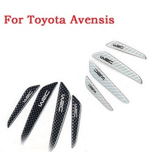 Car door crash decorative trim scuff plate auto door scratch bumper carbon fiber strip 3D stickers for Toyota Avensis