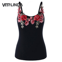 Buy VESTLINDA Embroidery Cami Tank Top Blouse Summer 2018 Fitness Women Clothing Camisole Spaghetti Strap Black Plus Size Cami Tops for $8.82 in AliExpress store