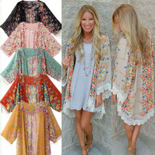 2016 Hot UK Women Boho Chiffon Cardigan Hippie Kimono Blouse Cape Shawl Jacket Ladies Top