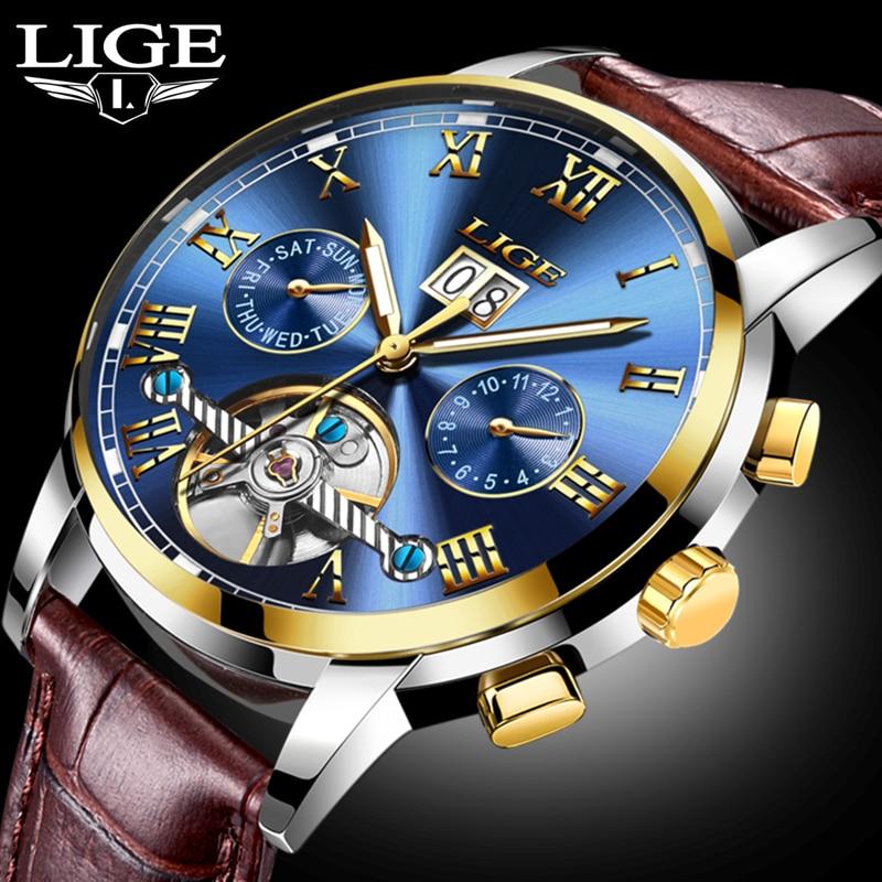 LIGE Men Watch Automatic Mechanical Men Wrist Wristwatch Leather Brand Male Clock Waterproof Shockproof Relogio Masculino Box 27<br>