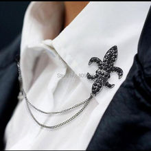 Crystal Chain Tassels Suit Brooch Lapel Pin Neck Collar Tip Shirt Mens Accessories Black Charm Jewelry HOT Drop Ship