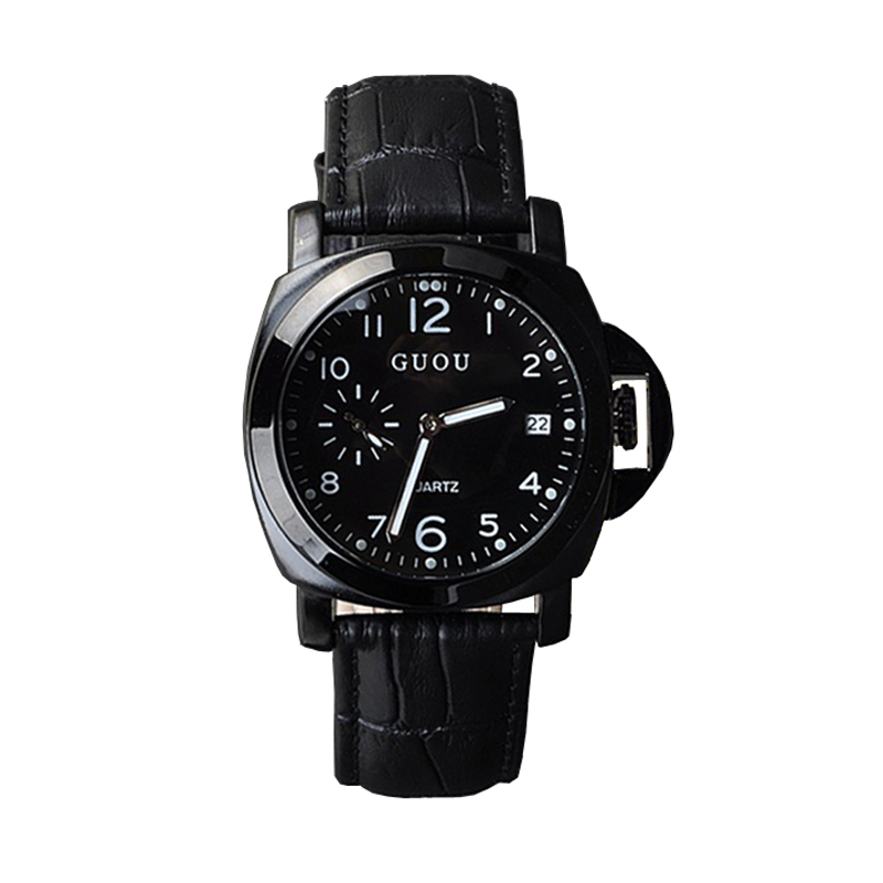 Quartz-watch High-Grade Mens Watches Genuine Leather With Calendar Cool Black Factory Outlet watch men<br><br>Aliexpress