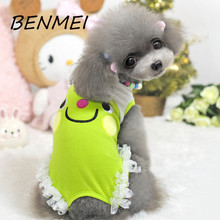 BENMEI New Fashion Cartoon Small Dog Vest Clothes Pet Spring Summer Dog Tank Top Teddy Tulle Lace Clothing