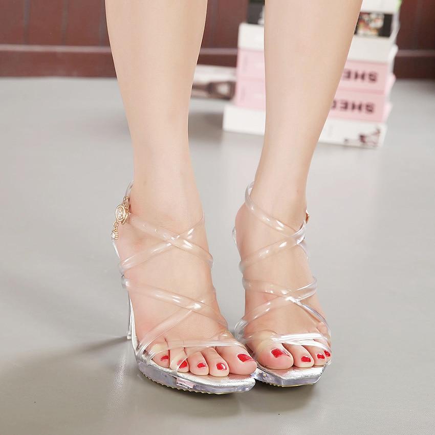 2017 Gladiator Sandals Women Stripper Shoes Sexy 10.5 CM High Clear Heels Sandals Platform Jelly Transparent Dress Party Pumps<br><br>Aliexpress