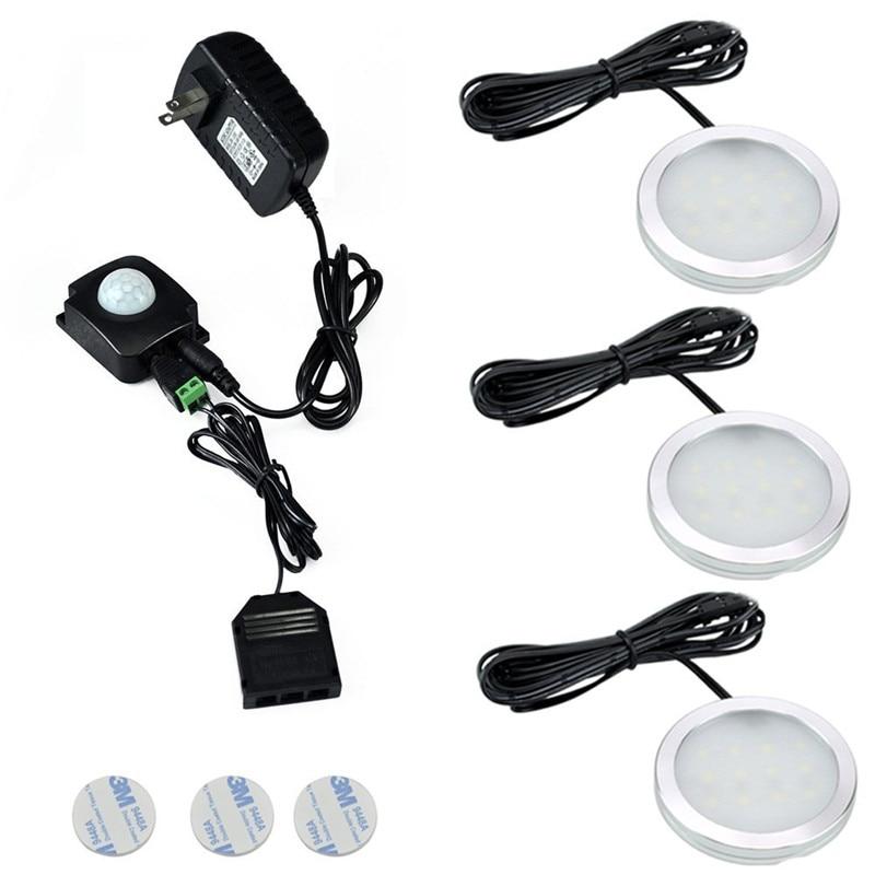 Wireless Handsfree PIR LED Under Cabinet Lights Kit Puck Lights (3pcs) with Infrared IR Induction Sensor for Kitchen Lighting<br><br>Aliexpress