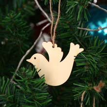 Kids Gift 10pcs Bird Wooden Pendant Hanging Christmas Tree Ornament Wedding Party Decorations DIY Xmas Decors Art Craft(China)
