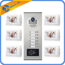 "7"" Video Intercom Doorbell Apartment Door Phone IR Camera for 6 Family Intercom Kits RFID HID Audio Visual Intercom System(China)"