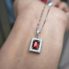 natural red garnet pendant S925 silver Natural gemstone Pendant Necklace trendy compact square Simple women girl gift jewelry(China)