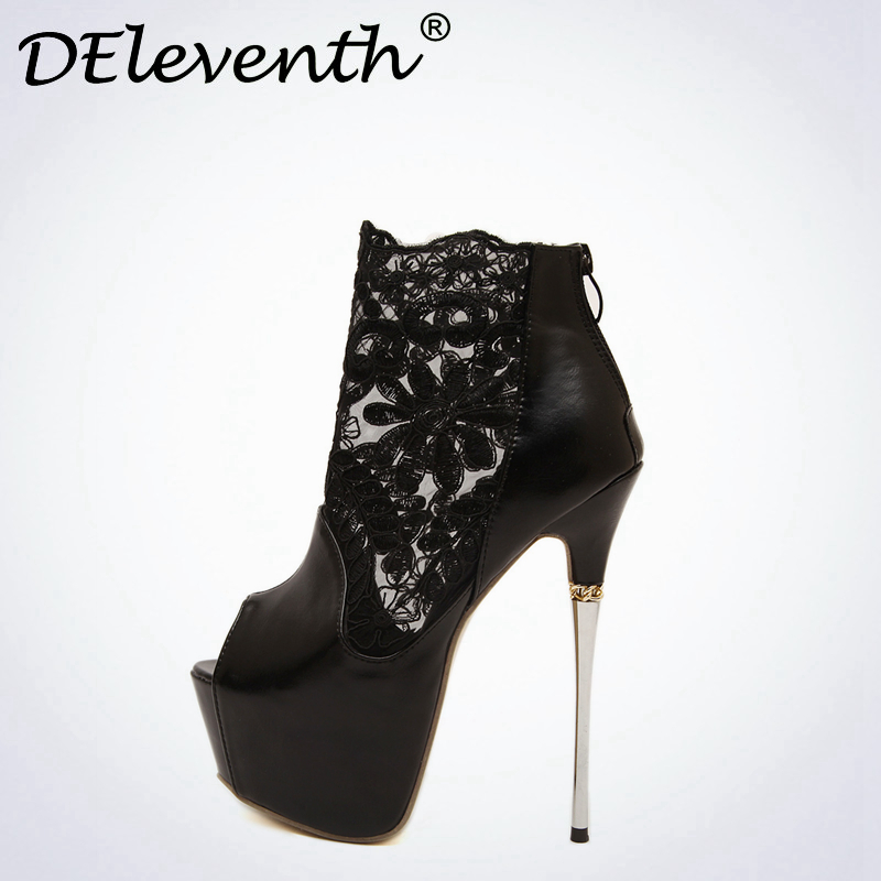 New Brand DEleventh Sexy Lacing Pumps Peep Toe 6CM High Platform Concise Fashion PU Leather Shoes Nightclubs Black White Size 40<br>