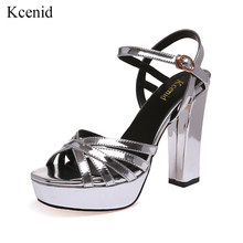 Kcenid Summer newest gladiator high heels sandals women fashion peep toe  platform dress party shoes big size 33-42 silver black e8759a1e2009