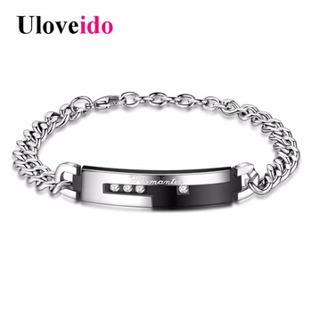 Ladies Fashion Stainless Steel Bracelet New Cubic Zirconia Bracelets For Lovers Valentine'S Day Gifts For The Man STB003