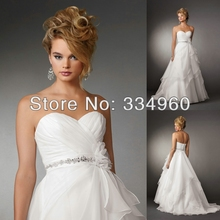 Draped Sweetheart Neckline Organza Attached Band At Waist With Beaded Detail And Flower Layered Skirt Wedding Dresses