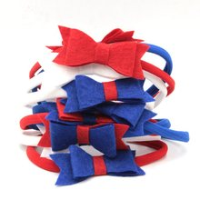 "10pcs/lot Red Blue White 3"" Non-woven Bow Elastic Nylon Headband Hot-sale Hair Accessories For Kids Headwrap Headwear(China)"