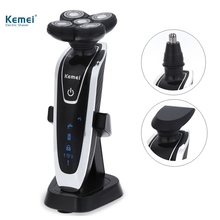 Kemei 5886 New 3 in 1 Washable Rechargeable Electric Shaver 5D Floating Heads Triple Blade Razor with Nose Trimmer Men Face Care(China)