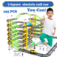 155PCS/Set 7-Layers Electric Rail Car Rotary  Building Model  Kit Sets  Train Track Slot Toy Baby Educational Racing Orbit Cars