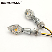 Ironwalls Chrome Universal Custom Mini Spear Motorcycle Turn Signals Light Indicator Led Driving Lamp For Cruiser Chopper