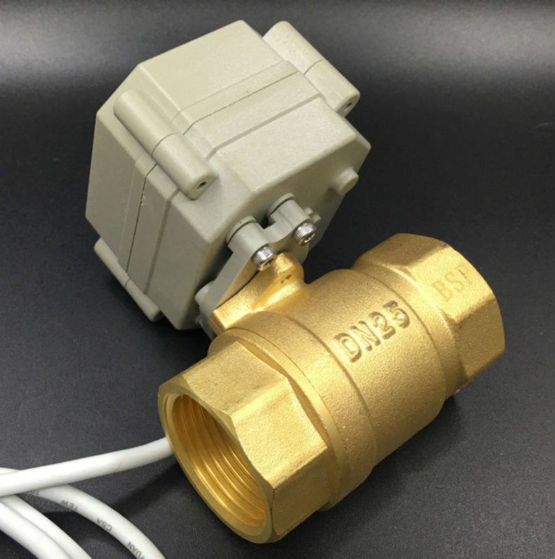 TF25-B2-C Factory Direct Sales High Quality DC12V Electric Brass Ball Valve NPT/BSP 1 2 Way DN25 2/3/5/7 Wires Metal Gear CE<br>
