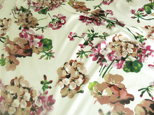 Large Flowers pattern evening dress Print Fabric azalea cheongsam Spandex Clothing material Satin textile