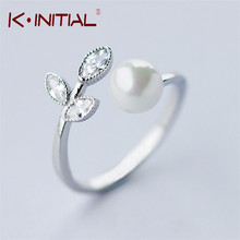 Kinitial 925 Sterling Silver Leaf CZ Rings Reliable with Big Simulated Pearl Ring Jewelry for Women Bijoux(China)