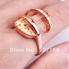 (Min order is $15 Mixed Order) fashion rose GOLD GP big yellow stone crystal finger cocktail ring Best Gift Fast Shipping
