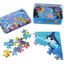 100pcs Educational Puzzle Toy Cute Cartoon Animals Jigsaw Puzzle for Children Kids Early Learning Wood Puzzle Toys in Iron Box(China)