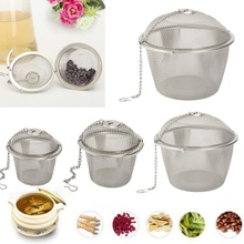 Durable 4 Sizes Silver Reusable Tea Mesh Spice Herbal Mesh Balls Tea Filter Infuser Stainless Steel Strainer Locking Handle
