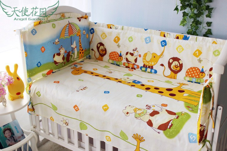 Promotion! 6PCS baby bedding set 100% cotton curtain crib bumper baby cot sets (bumper+sheet+pillow cover)