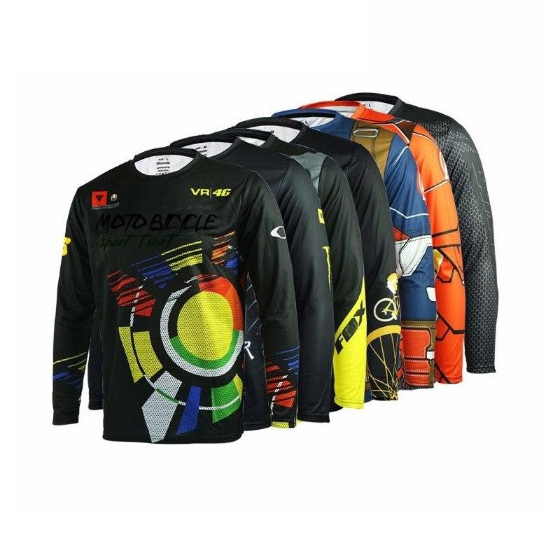 PLUSLAND Moto Bicycle Men Cycling Running Jersey DH Quick Dry Sport Downhill T-Shirt Long Sleeve MTB Bike Printing Clothing