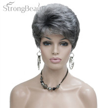 StrongBeauty Synthetic Short Curly Hair Puffy Natural Blonde/Silver Grey Wigs With Bangs For Women Many Color For Choose