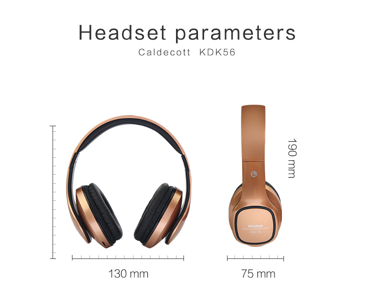 Lerbyee Wireless Bluetooth Headphones Stereo Over Ear Headsets Foldable Sport with Mic Support TF Card FM Radio for smartphone