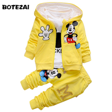 2017 New Chidren Kids Boys Clothing Set Autumn Winter 3 Piece Sets Hooded Coat Suits Fall Cotton Baby Boys Clothes Mickey(China)