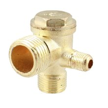"MYLB-2/5"" 3/8""PT 1/2""PT Male Thread 3 Way Metal Air Compressor Check Valve Gold Tone"