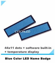 LYSONLED 2pcs/lot 44x11 Dots Blue Color Rechargeable Led Scrolling Name Badge, Hot Sale LED Name Tag for Business/Shop(China)