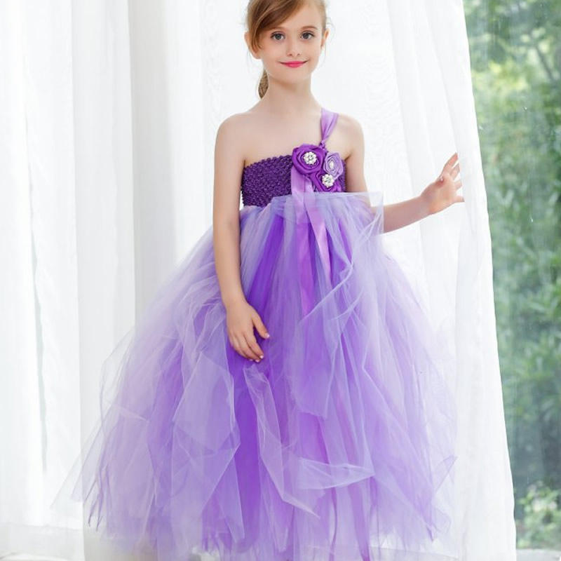 2018 Top quality Noble Flower Girl Dresses Purple Flower 2-12Year cute Draped Ball Gown Evening Dress Children Birthday<br>