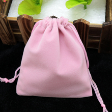 Wholesale 7x9cm Drawstring Pink Velvet Bags Pouches Jewelry Christmas Valentines Gift Bags 50pcs/lot Free Shipping(China)