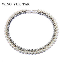 Wing Yuk Tak New Fashion Party Choker Double Rhinestone Statement Simulated Pearl Necklace For Women Factory Wholesale(China)