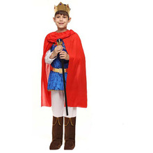 Red Blue Kids Boys Arab Prince King Cosplay Costume With Cloak Crown For Children Halloween Carnival Dress Party Supplies