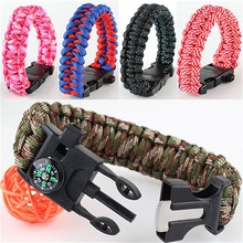 Attached Mirco Compass Or Flintstones Survival Colorful  Bracelet Outdoor Scraper Whistle Flint Fire Starter Gear Kits