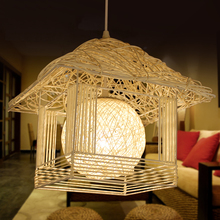 House garden restaurant kitchen lamp fashion modern lamps special woven rattan house Pendant Lights(China)