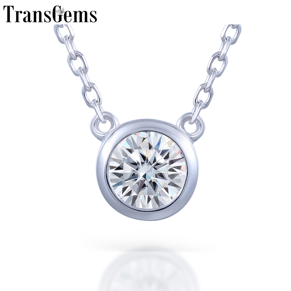 TransGems Platinum Plated Silver Sterling 925 1ct 6.5MM H Color Moissanite Solitaire Pendant Necklace for Women Wedding Gift