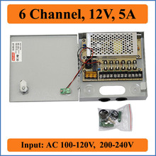 6 channel DC12V 5A CCTV Camera Power Box switching power supply distribution Box for Video surveillance 6 Port Input AC 100-240V