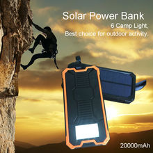 20000mAh Solar Power Bank Bateria SOS Function External Solar Charger Powerbank Portable Solar Panel with LED light Waterproof