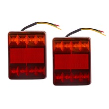 New 2pcs ABS Plastic Waterproof Trailer Truck 8LED Taillight Brake Stop Turn Signal Indicator Light Lamp 12V