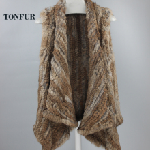 Real Rabbit Fur Vest Women Knitted Rabbit Fur Gilet Handmade Knitted Female Trend Fur Vest Nature Waistcoat Export Fur DFP779