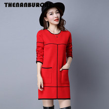 THENANBURONE Fashion 2017 Winter Casual Pullovers Women Knitted Long Sleeve Dresses Warm Slim Thick Hand Crochet Sweater Dress