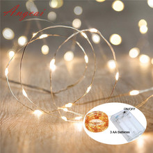 LED tiny String Lights 10M 33Ft Copper Wire Fairy Lamp 100LED Battery Powered Party wedding kids room decor,novelty lighting(China)