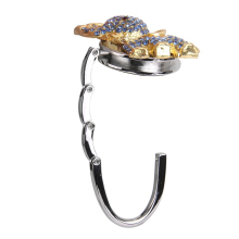 Folding bag hanger purse bag hanger table hook rhinestone Blue Elephant bag Hanger Hook Holder for women