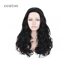 "ccutoo 26"" Black Curly Long Synthetic Slicked Back Natural Hair Heat Resistance Fiber Party Cosplay Full Wigs Peluca Costume"