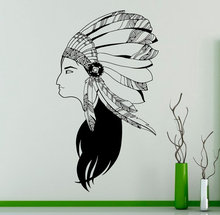 Indian Wildlife Style Girl With Feathers Hat Wall Mural Native American Woamn Art Design Special Wall Decal Home Decor D-190